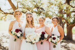 Blush Bridesmaid Dresses With Blush Kendra Scott Accessories