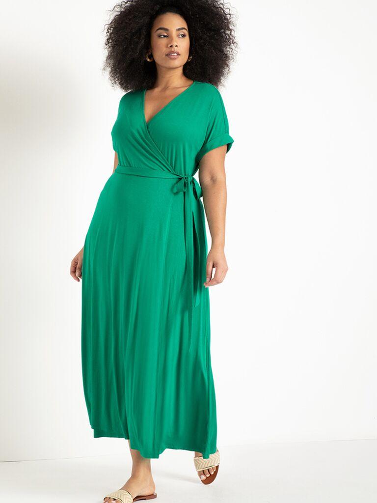 Jewel green cotton wrap dress