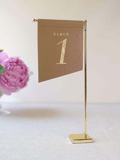 David's Bridal slanted vegan leather table number flags