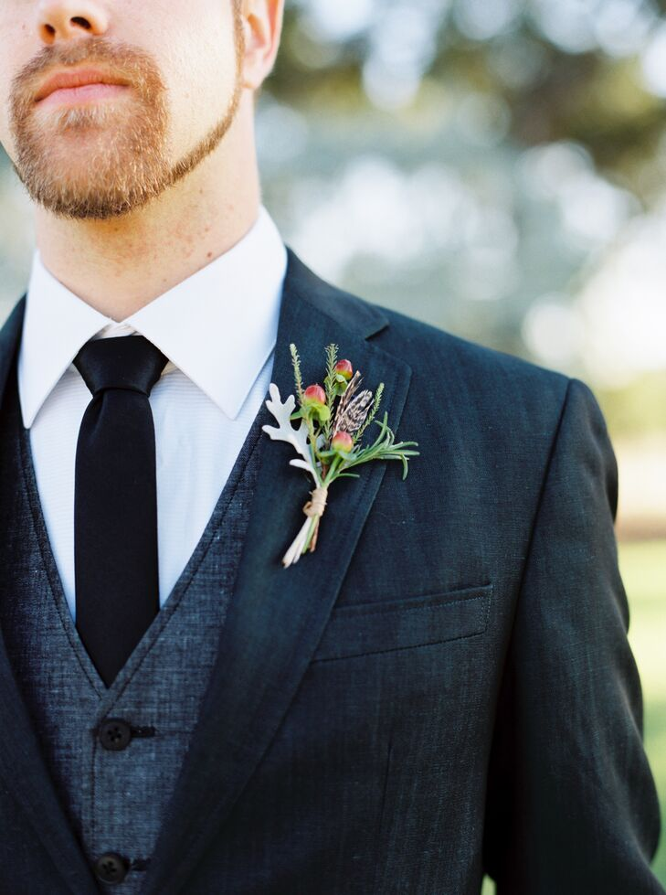Hypericum and Dusty Miller Boutonniere