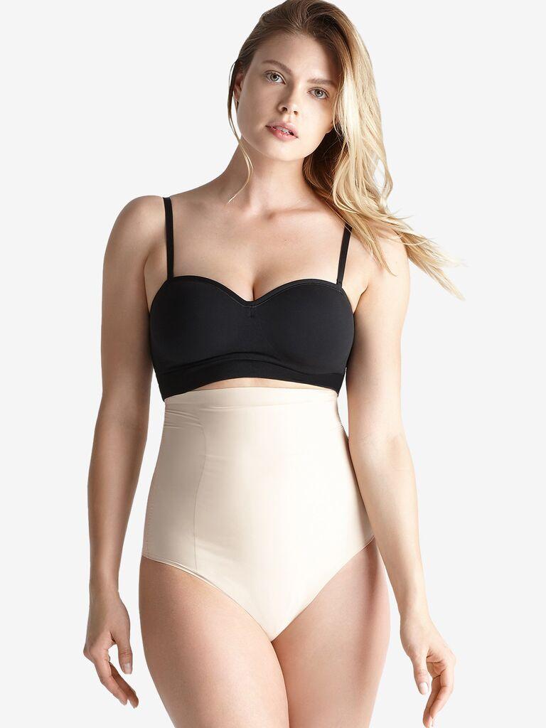 High-waist shapewear thong in light beige hue