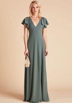 Birdy Grey Hannah Crepe Dress in Seaglass V-Neck Bridesmaid Dress