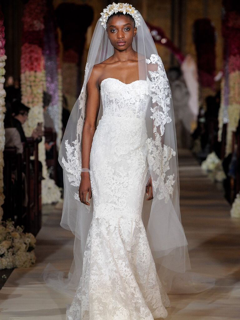 Reem Acra Spring 2020 Bridal Collection strapless lace fit-and-flare wedding dress
