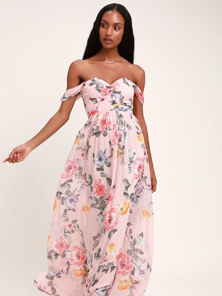 Pink off the shoulder floral bridesmaid dress