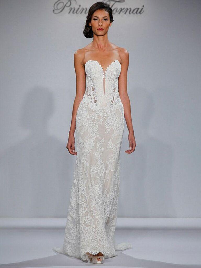 kleinfeld cô dâu váy cưới quây màu trắng với ngực ren cổ yếm ngọt ngào và váy ren bồng bềnh váy cưới đơn giản đẹp