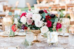 Rose and Eucalyptus Centerpiece in Footed Gold Vase