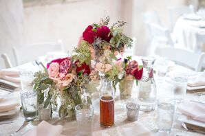 Burgundy, Pink and Plum Table Floral Arrangements
