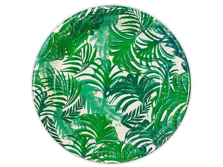 Tropical greenery design on paper plates