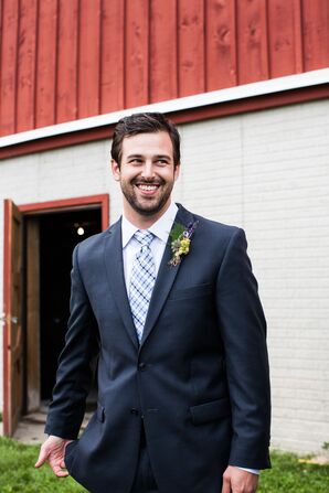 Groom's Lavender and Succulent Boutonniere and Blue Tie