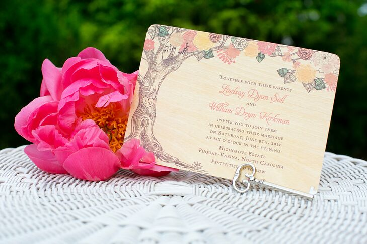 Lindsay loved the couple's unique invites - they're printed on real wood!