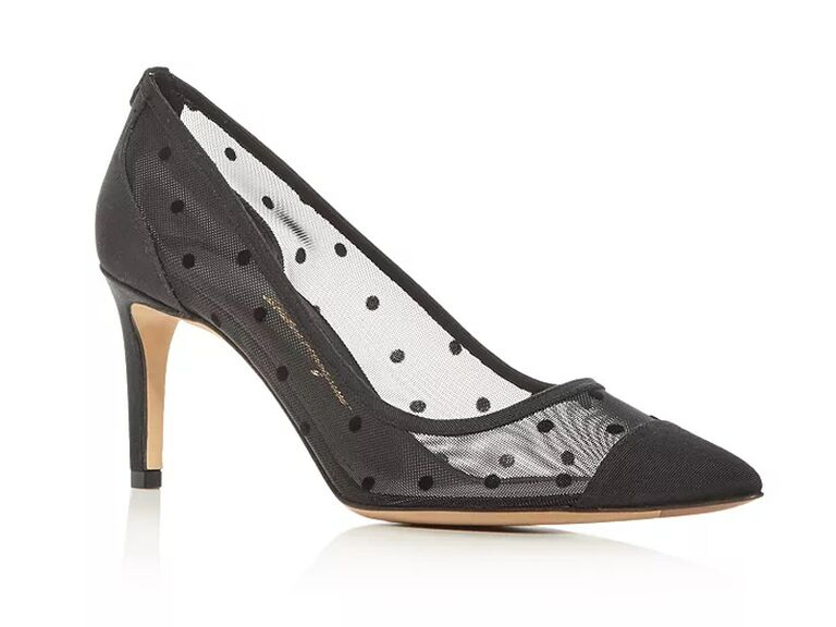 bloomingdales black mother of the groom pumps with polka dots