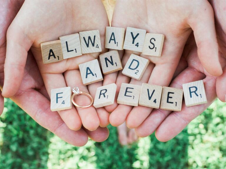 'Always and forever' on Scrabble tiles