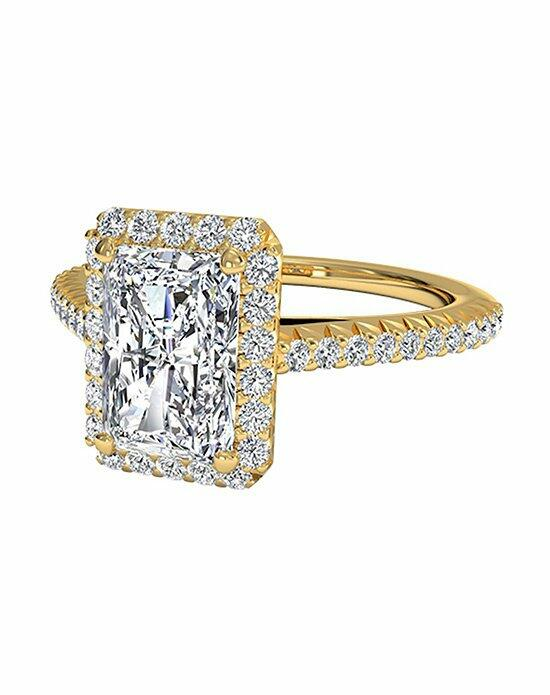 Ritani Radiant Cut French-Set Halo Diamond Band Engagement Ring in 18kt Yellow Gold (0.21 CTW) Engagement Ring photo