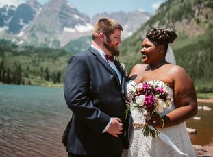 """AlysonHill and Evan Langran wanted to wed in the mountains, so they planned a ceremony and reception in Colorado. """"We knew the natural beauty and awe"""
