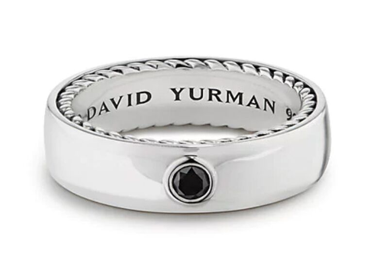 David Yurman Streamline band ring with black diamond