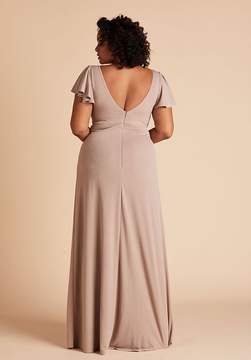 Birdy Grey Hannah Crepe Dress Curve in Taupe V-Neck Bridesmaid Dress