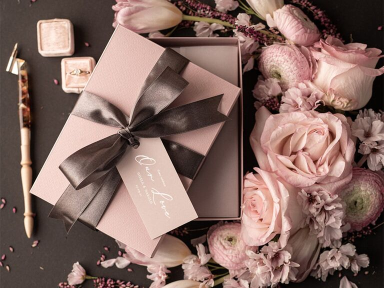 Blush box with brown ribbon and personalized blush tag