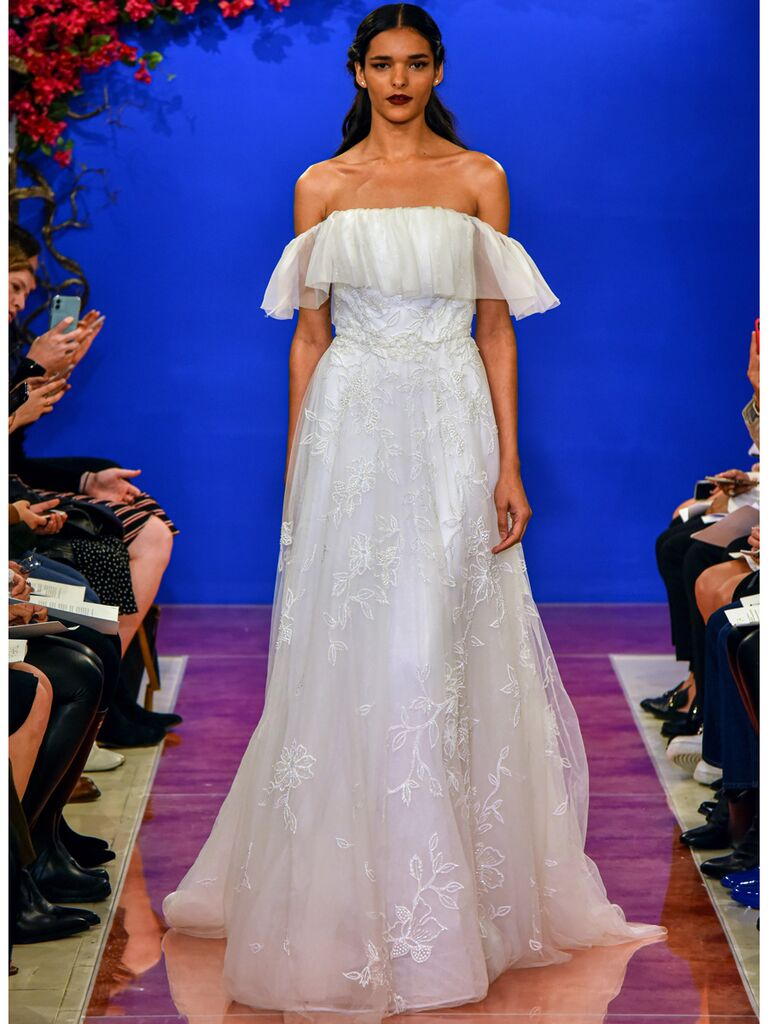 theia wedding dress off-the-shoulder tulle ballgown