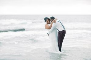 Couple Hugging on the Beach in Newport, California