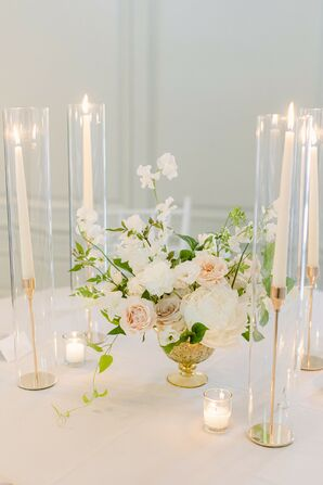 Elegant Tablescape With Lush Rose Centerpiece and Ivory Taper Candles