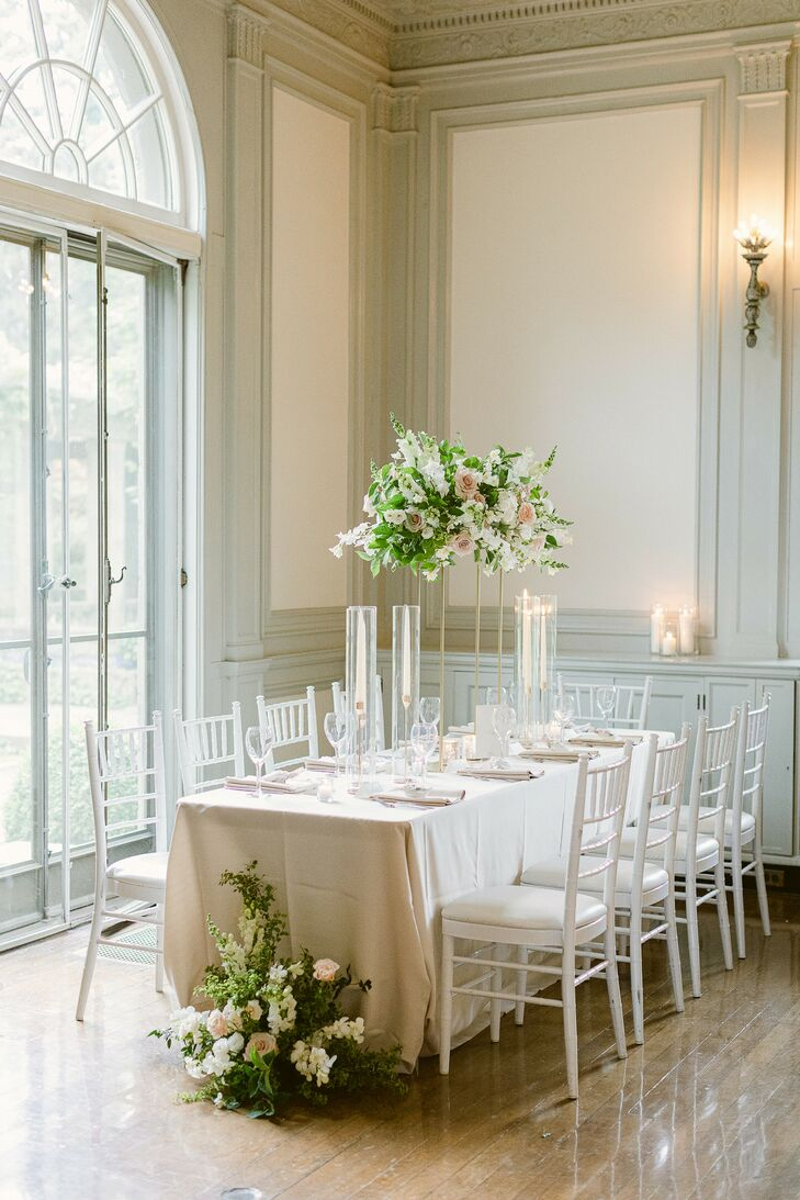 Formal Reception Table With Chiavari Chairs at Eolia Mansion in Waterford, Connecticut