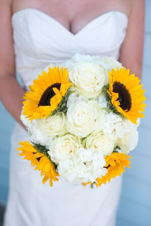 Mixed Sunflower and White Rose Wedding Bouqet