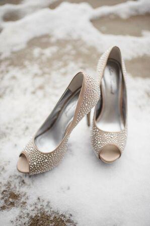 Neutral Glam Peep-Toe Heels