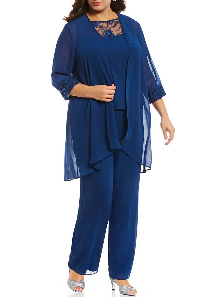 dillards blue three piece mother of the bride pant suit with lace