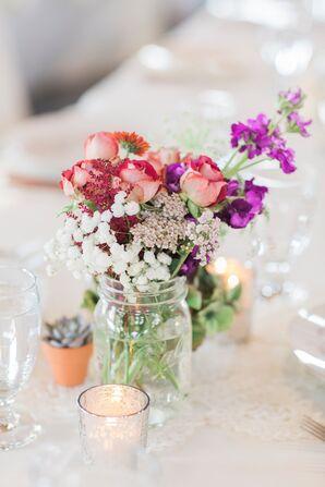 Pink Rose and Wildflower Mason Jar Centerpieces