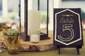 Wood and Lantern Centerpieces with Chalkboard Table Numbers