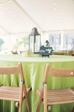 Minimal Green Tented Reception Decor