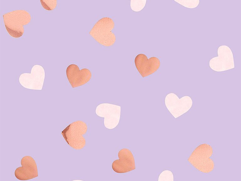 Pink and rose gold heart confetti