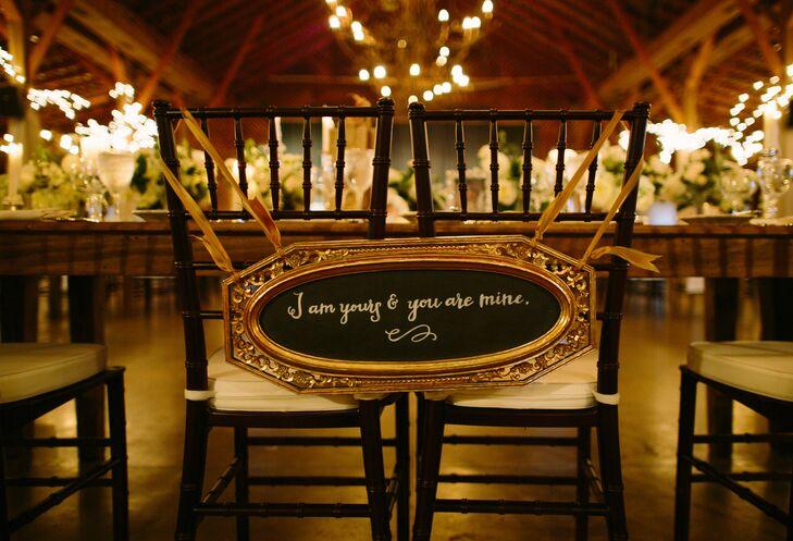 Gold Framed Chalkboard Chair Sign
