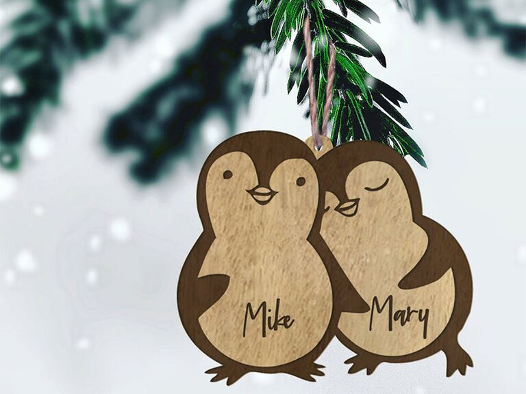 Wooden penguins with personalized names