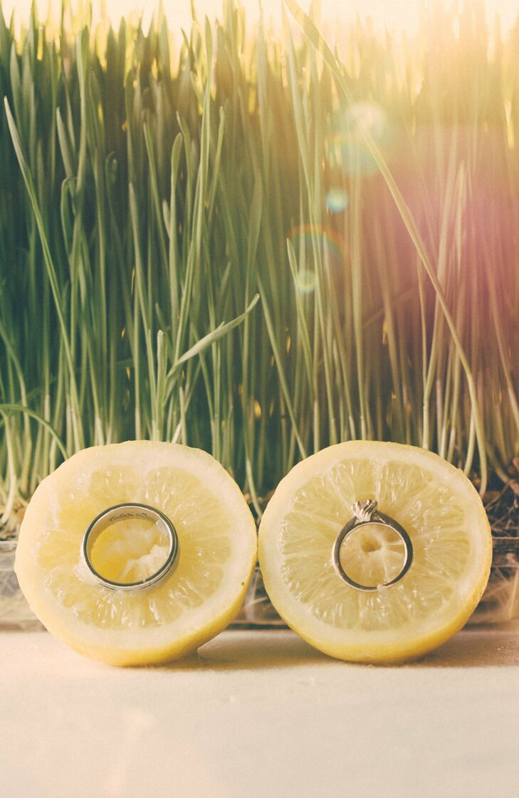 The bride and groom incorporated lemons into a lot of the design of their reception along with their stationary and styling. The bright yellow color mixed with the sweet refreshing lemons was perfect for an outdoor summer wedding.