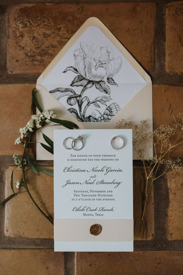 Tan-and-White Wedding Invitations with Flower Illustrations