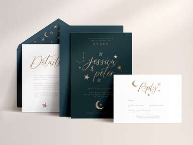 Gold calligraphy on navy background with moon and star details