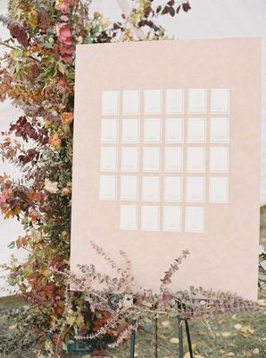 Pink-and-White Escort Card Display Wall