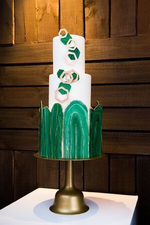 Modern Cake with Faux-Malachite-Covered Base