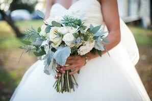 Rustic Mint and Blue Bridal Bouquet