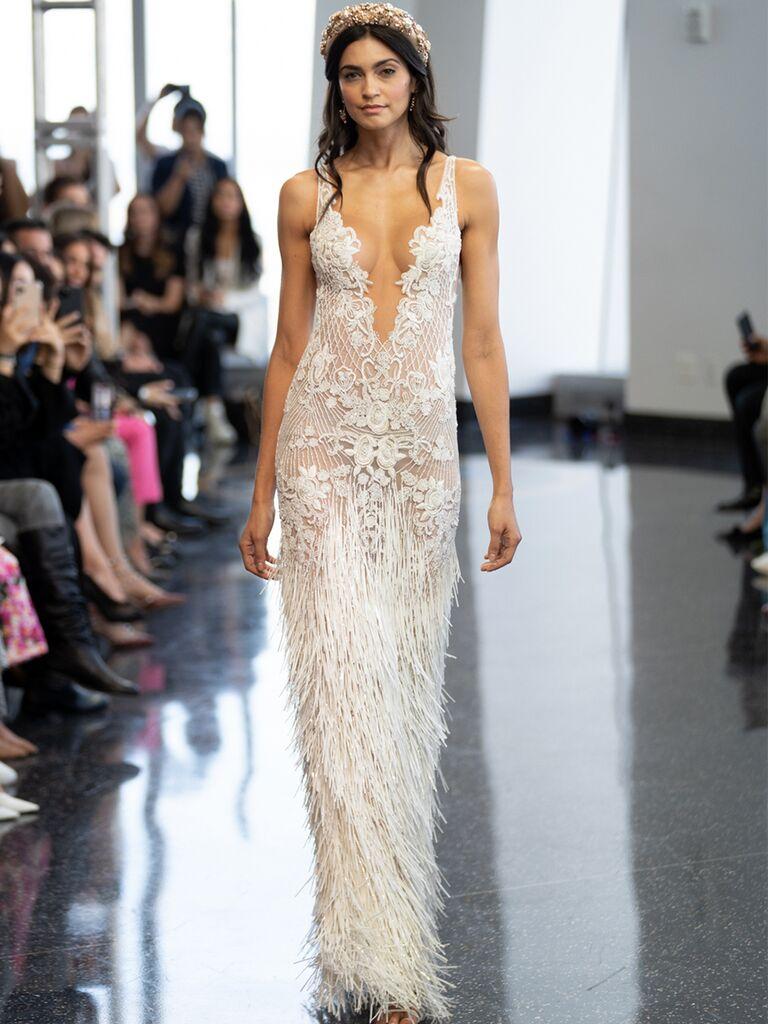 Column Wedding Dress With Fringe