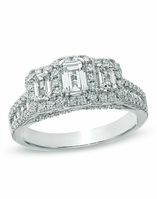 Zales 1-1/2 CT. T.W. Certified Emerald-Cut Diamond Three Stone Frame Ring in 14K White Gold (H-I/SI2-I1)  19995209 Engagement Ring photo