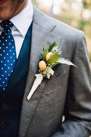 Kumquat Boutonniere with Greenery and Leaves