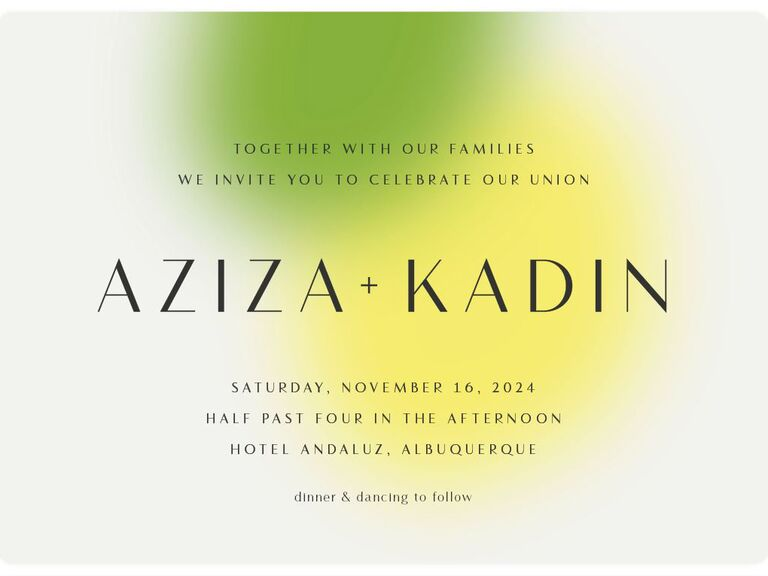 Lime green blended hues colorful and affordable wedding invitation