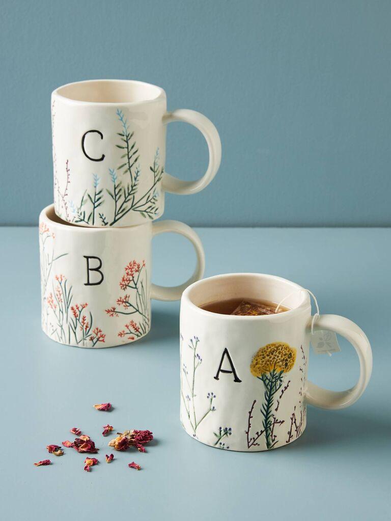 Monogram mugs affordable bridesmaid gifts