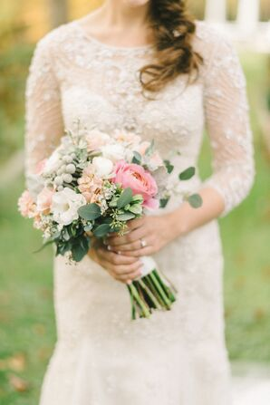 Classic Rose, Lisianthus and Silver Brunia Bouquet