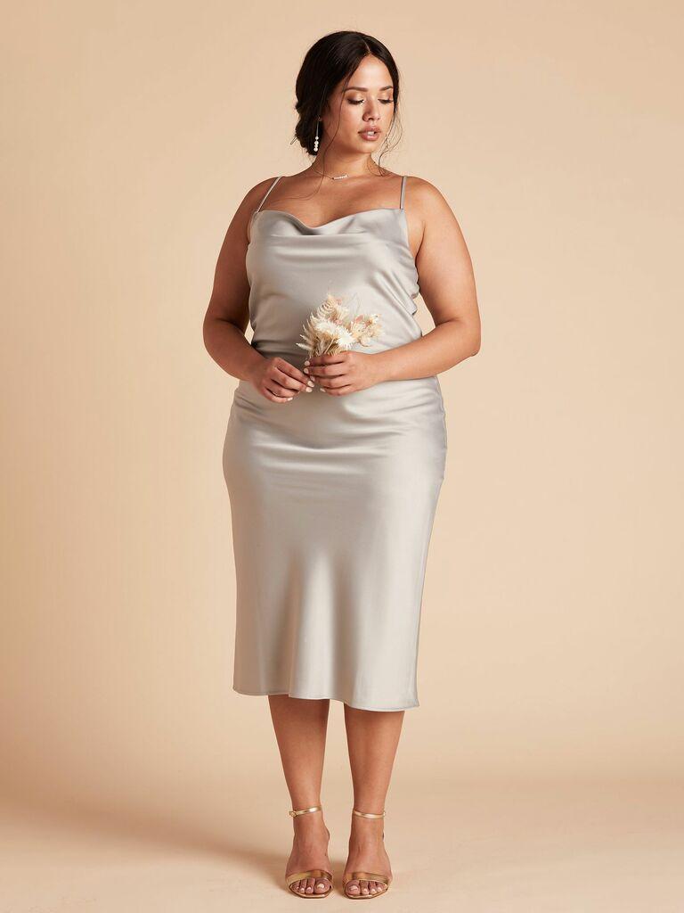 midi slip dress with cowl neck
