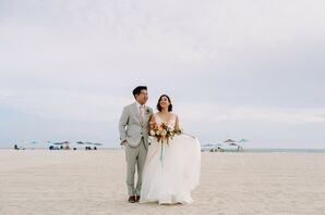 Couple at Beach Wedding in at The Boardwalk Cafe at Sunny Atlantic Beach Club in Atlantic Beach, New York