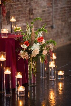 Floating Candles and Aisle Decoration with Dahlias, Hydrangeas and Astilbe