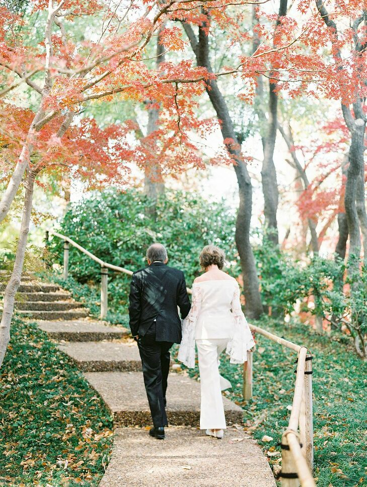 Couple Walking Through Japanese Garden at Fort Worth Botanic Garden